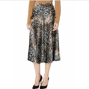 NWT Anne Klein Animal Print Patterned A Line Skirt